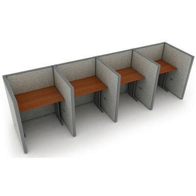 Privacy Station Panel System 1x4 Configuration Size: 47 H x 36 - 158.5 W, Top Finish: Cherry, Panel Color: Gray Vinyl