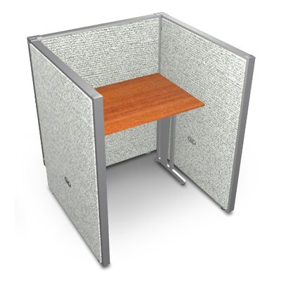 Privacy Station Panel System 1x1 Configuration Size: 47 H x 36 - 41.5 W, Top Finish: Cherry, Panel Color: Gray Vinyl