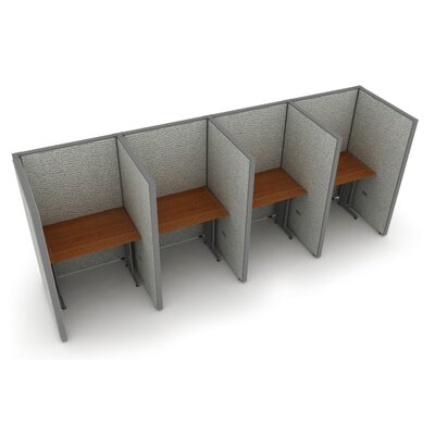 Privacy Station Panel System 1x4 Configuration Top Finish: Cherry, Panel Color: Gray Vinyl, Size: 63 H x 36 - 158.5 W