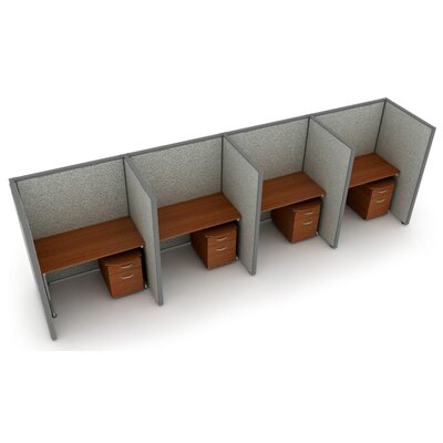 Privacy Station Panel System 1x4 Configuration Top Finish: Cherry, Panel Color: Gray Vinyl, Size: 63 H x 48 - 202.5 W