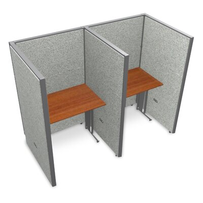 Privacy Station Panel System 1x2 Configuration Top Finish: Cherry, Panel Color: Gray Vinyl, Size: 63 H x 36 - 80.5 W