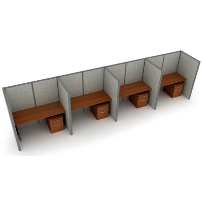 Privacy Station Panel System 1x4 Configuration Top Finish: Cherry, Panel Color: Beige Vinyl, Size: 63 H x 60 - 250.5 W