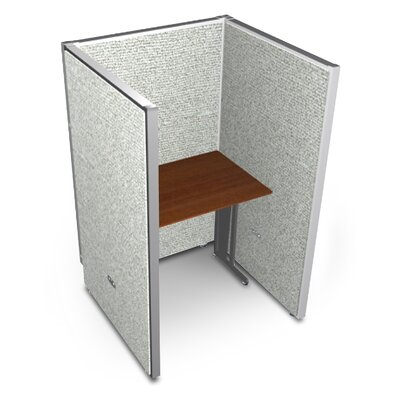 Privacy Station Panel System 1x1 Configuration Top Finish: Cherry, Panel Color: Gray Vinyl, Size: 63 H x 36 - 41.5 W