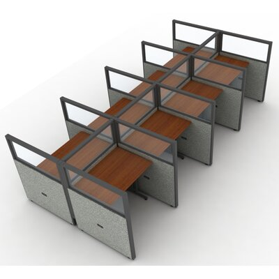 Privacy Station Panel System 2x4 Configuration Top Finish: Cherry, Panel Color: Gray Vinyl, Size: 63 H x 60 - 250.5 W