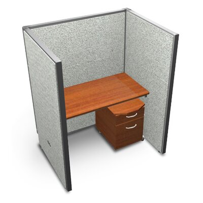 Privacy Station Panel System 1x1 Configuration Top Finish: Cherry, Panel Color: Beige Vinyl, Size: 47 H x 60 - 64.5 W