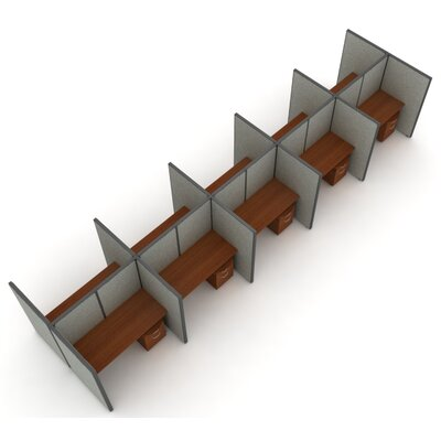 X5 Privacy Station Panel System 2x5 Configuration Top Finish: Cherry, Panel Color: Beige Vinyl, Size: 47 H x 60 - 312.5 W