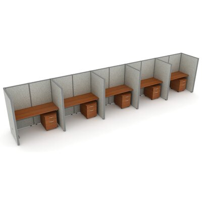 X5 Privacy Station Panel System 1x5 Configuration Size: 47 H x 36 - 197.5 W, Top Finish: Maple, Panel Color: Gray Vinyl