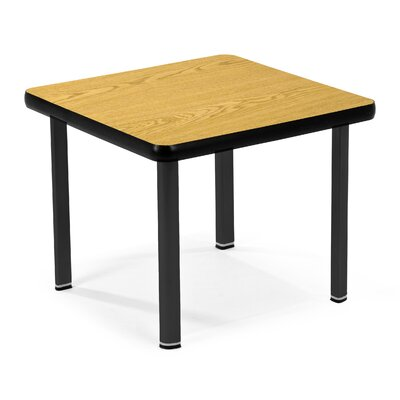 Square End Table Top Color: Oak, Base Color: Black