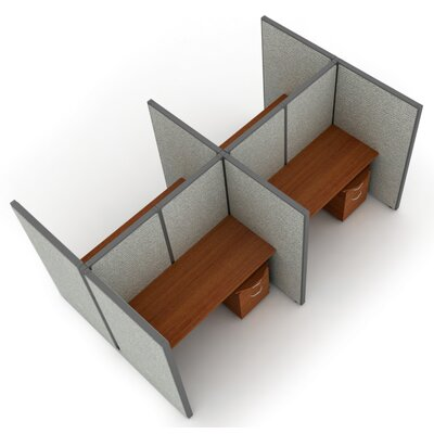 Privacy Station Panel System 2x2 Configuration Size: 47 H x 36 - 80.5 W, Panel Color: Beige Polycarbonate, Top Finish: Maple