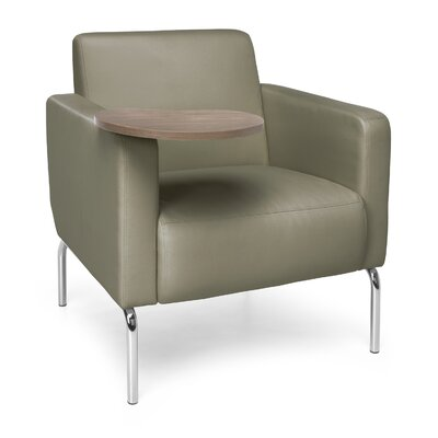Triumph Series Lounge Chair with Tablet Color: Taupe, Finish: Bronze