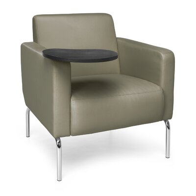 Triumph Series Lounge Chair with Tablet Color: Taupe, Finish: Tungsten