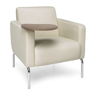Triumph Series Lounge Chair with Tablet Color: Cream, Finish: Bronze