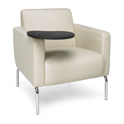 Triumph Series Lounge Chair with Tablet Color: Cream, Finish: Tungsten