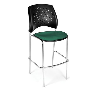 Stars and Moon 31.25 Bar Stool Base Finish: Chrome, Upholstery: Shamrock Green