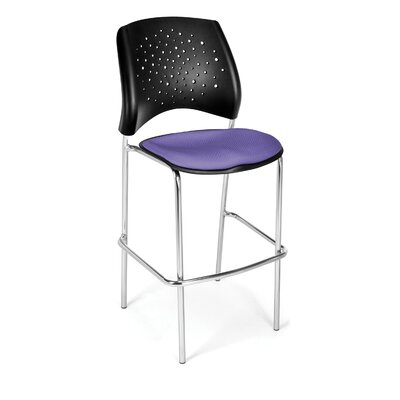 Stars and Moon 31.25 Bar Stool Base Finish: Chrome, Upholstery: Lavender