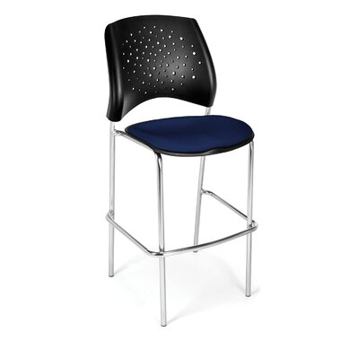 Stars and Moon 31.25 Bar Stool Base Finish: Chrome, Upholstery: Navy