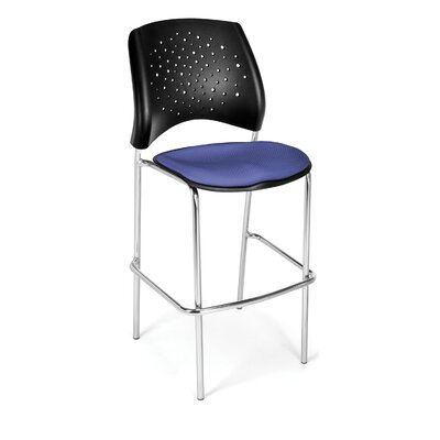 Stars and Moon 31.25 Bar Stool Base Finish: Chrome, Upholstery: Colonial Blue