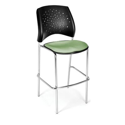 Stars and Moon 31.25 Bar Stool Base Finish: Chrome, Upholstery: Sage Green