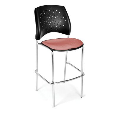 Stars and Moon 31.25 Bar Stool Base Finish: Chrome, Upholstery: Coral Pink