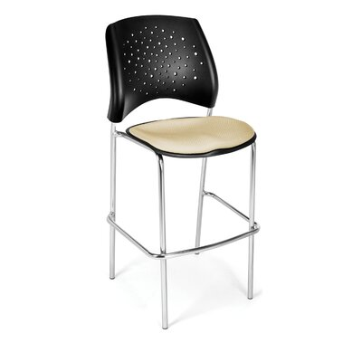 Stars and Moon 31.25 Bar Stool Base Finish: Chrome, Upholstery: Khaki