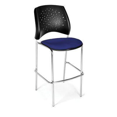 Stars and Moon 31.25 Bar Stool Base Finish: Chrome, Upholstery: Royal Blue