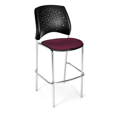 Stars and Moon 31.25 Bar Stool Base Finish: Chrome, Upholstery: Burgundy