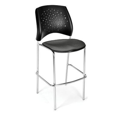 Stars and Moon 31.25 Bar Stool Base Finish: Chrome, Upholstery: Slate Gray