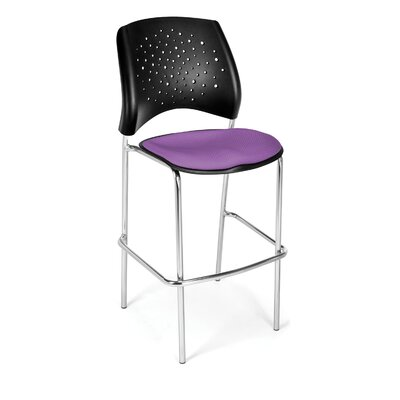 Stars and Moon 31.25 Bar Stool Base Finish: Chrome, Upholstery: Plum