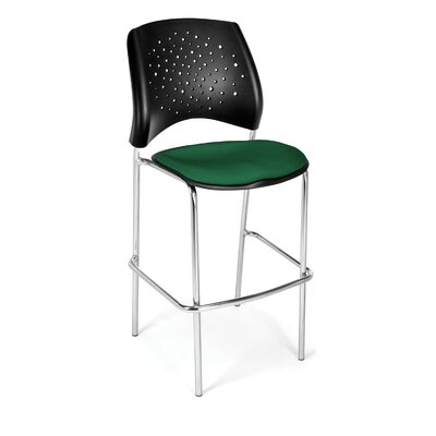 Stars and Moon 31.25 Bar Stool Base Finish: Chrome, Upholstery: Forest Green