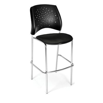 Stars and Moon 31.25 Bar Stool Base Finish: Chrome, Upholstery: Black