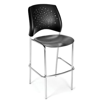 Stars and Moon 31.25 Bar Stool Base Finish: Chrome, Upholstery: None (Black Plastic)