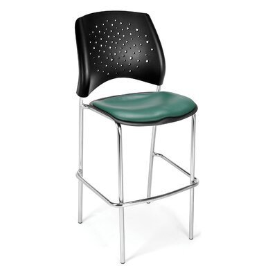 Stars and Moon 31.25 Bar Stool Base Finish: Chrome, Upholstery: Vinyl Teal