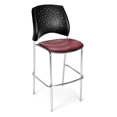 Stars and Moon 31.25 Bar Stool Base Finish: Chrome, Upholstery: Vinyl Wine