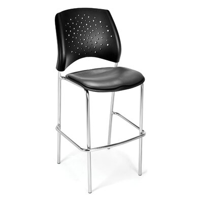 Stars and Moon 31.25 Bar Stool Base Finish: Chrome, Upholstery: Vinyl Charcoal