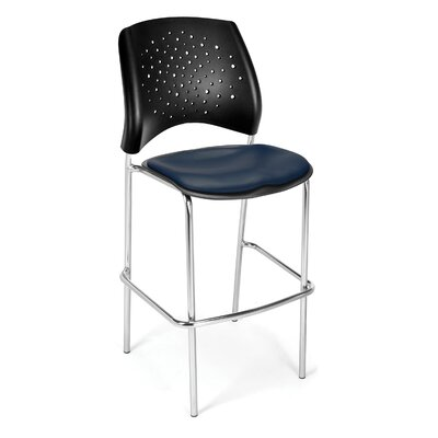 Stars and Moon 31.25 Bar Stool Base Finish: Chrome, Upholstery: Vinyl Navy