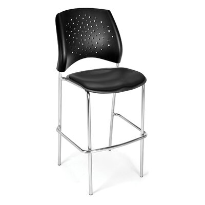 Stars and Moon 31.25 Bar Stool Base Finish: Chrome, Upholstery: Vinyl Black