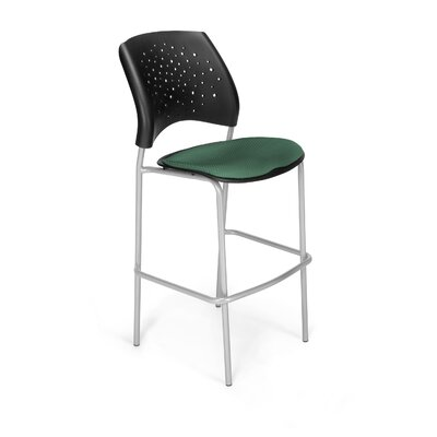Stars and Moon 31.25 Bar Stool Base Finish: Silver, Upholstery: Shamrock Green