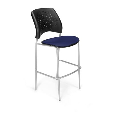 Stars and Moon 31.25 Bar Stool Base Finish: Silver, Upholstery: Navy