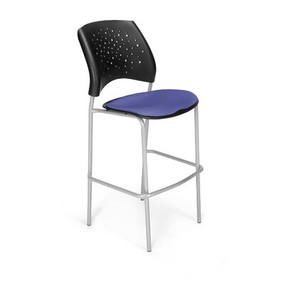 Stars and Moon 31.25 Bar Stool Base Finish: Silver, Upholstery: Colonial Blue