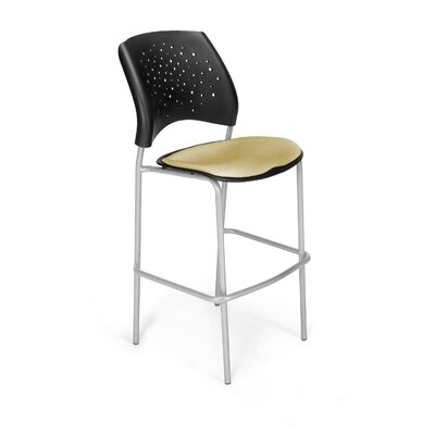 Stars and Moon 31.25 Bar Stool Base Finish: Silver, Upholstery: Golden Flax
