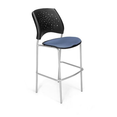 Stars and Moon 31.25 Bar Stool Base Finish: Silver, Upholstery: Cornflower Blue