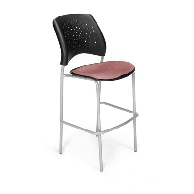 Stars and Moon 31.25 Bar Stool Base Finish: Silver, Upholstery: Coral Pink