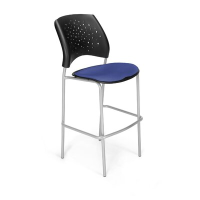 Stars and Moon 31.25 Bar Stool Base Finish: Silver, Upholstery: Royal Blue