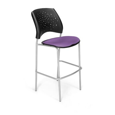 Stars and Moon 31.25 Bar Stool Base Finish: Silver, Upholstery: Plum