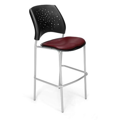 Stars and Moon 31.25 Bar Stool Base Finish: Silver, Upholstery: Vinyl Wine