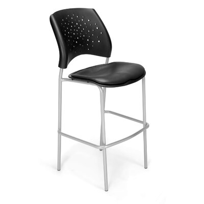Stars and Moon 31.25 Bar Stool Base Finish: Silver, Upholstery: Vinyl Charcoal