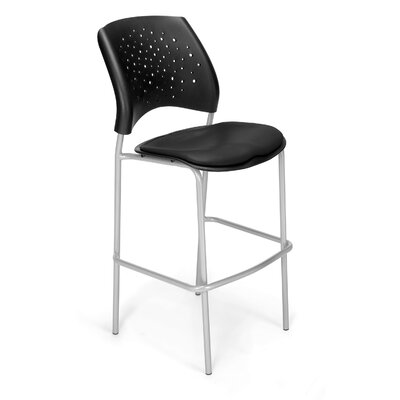 Stars and Moon 31.25 Bar Stool Base Finish: Silver, Upholstery: Vinyl Black