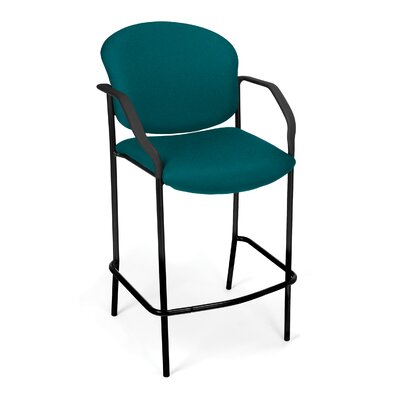 Caf� Height Chair with Arms Fabric Color: Teal