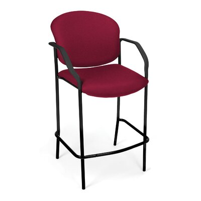 Caf� Height Chair with Arms Fabric Color: Wine