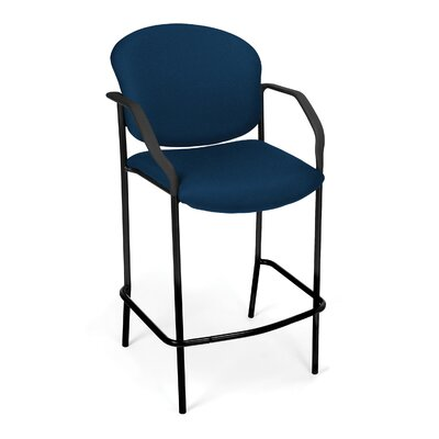 Caf� Height Chair with Arms Fabric Color: Navy